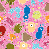 Seamless  pattern with bacteria. Stock Photos