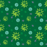Seamless pattern of Bacteria virus and germs microorganism cells. Vector seamless pattern of Bacteria virus and germs microorganism cells,illustration in green Royalty Free Stock Image