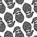 Seamless pattern with Bad Santa in glasses with typography Happy New Year 2018 on hat and beard. Vector illustration in Stock Photo