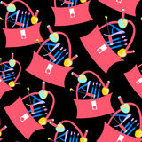 Seamless pattern bag ladies with cosmetics and varnishes. vector Stock Photo