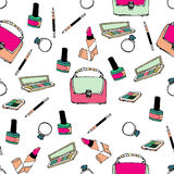Seamless pattern with bags and cosmetics Stock Photo