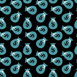 Seamless pattern of bags with money coins. Vector Illustration. Stock Image