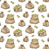 Seamless pattern with bags of money. Packing in bundles of bank notes on white background. stock illustration