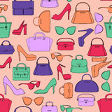 Seamless pattern of bags and shoes Stock Photography