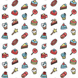 Seamless pattern of bakery and cake icons. Candy, sweet set Royalty Free Stock Images