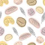 Seamless pattern with bakery items. Royalty Free Stock Images