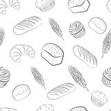 Seamless pattern with bakery items. Royalty Free Stock Photo