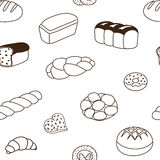 Seamless pattern from bakery products. Collection of bakery products, seamless pattern, baking background Royalty Free Stock Photo