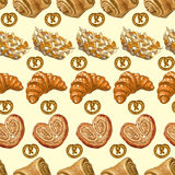 Seamless pattern with bakery products. Stock Photos