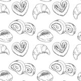 Seamless pattern with bakery products. royalty free illustration