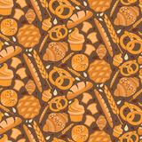 Seamless pattern for bakery theme bread,loaf, croissant, cu Stock Photography