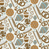 Seamless pattern for bakery theme  bread,loaf, croissant, cu Stock Photo