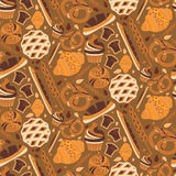 Seamless pattern for bakery theme  bread,loaf, croissant, cu Stock Image