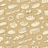 Seamless pattern with bakery. Vector background with bread and buns Royalty Free Stock Images