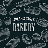 Seamless Pattern for bakery. Vector color hand drawn vintage engraving Stock Image