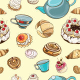 Seamless pattern with baking, pastries, cakes, tea Royalty Free Stock Photography