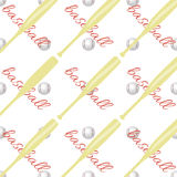 Seamless pattern with ball and a baseball bat. Set Stock Images