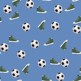 Seamless pattern with ball and gumshoes Stock Photo