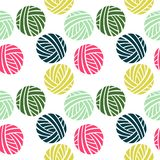 Seamless pattern. Ball of yarn. vector illustration