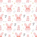 Seamless pattern of ballerina accessories including fairy wings, ballerinas, hair pins, hair clip, eyelashes and stars