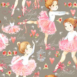 Seamless pattern with Ballerina. Cute ballerina girl. Ballerina watercolor Stock Photography