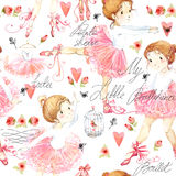 Seamless pattern with Ballerina. Cute ballerina girl. Ballerina watercolor Stock Image