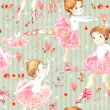 Seamless pattern with Ballerina. Cute ballerina girl. Ballerina watercolor Royalty Free Stock Photography