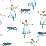 Seamless pattern ballerinas and dragonflies. Seamless pattern of ballet dancers and dragonflies, black and silver drawing, watercolor painting, isolated on white Royalty Free Stock Photos