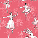 Seamless pattern ballerinas and lilies. Seamless pattern of ballet dancers and lilies, freehand drawing, watercolor painting, isolated on pink background. Fabric Royalty Free Stock Photography