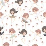 Seamless pattern with ballerinas. Stock Image