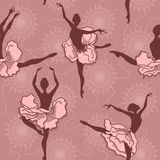 Seamless pattern of ballet dancers Stock Photos