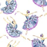 Seamless pattern of ballet dancers, watercolor painting. It can be used for card, postcard, cover, invitation, wedding. Card, mothers day card, birthday card royalty free stock photography