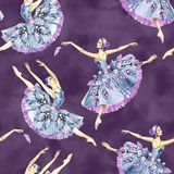 Seamless pattern of ballet dancers, watercolor painting. It can be used for card, postcard, cover, invitation, wedding