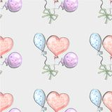 Seamless pattern from balloon balloon on grunge background cute childish style.  stock illustration