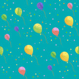 Seamless pattern of balloon. Drawn with watercolor Royalty Free Stock Photo