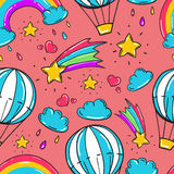 Seamless pattern with balloon, stars rainbow, clouds and other elements. Vector background in comic style Royalty Free Stock Photography