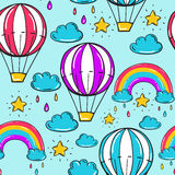 Seamless pattern with balloon, stars rainbow, clouds and other elements. Vector blue background in comic style Royalty Free Stock Images