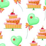 Seamless pattern with balloons,cakes. Seamless pattern with cartoon green balloons,cakes with red strawberries,candle,flower.sweets with pink cream.Vector Stock Photo