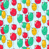 Seamless pattern with balloons with cat faces Royalty Free Stock Photography