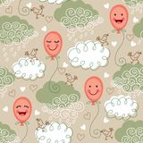 Seamless pattern with balloons and clouds Royalty Free Stock Photo