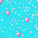 Seamless pattern with balloons and confetti. royalty free illustration