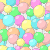 Seamless pattern with balloons. Seamless festive pattern with multicolored balloons, on gray background Stock Photos