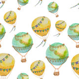 Seamless pattern of balloons with baskets painted in watercolor. Seamless pattern of balloons green and yellow with baskets painted in watercolor Royalty Free Stock Images
