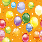 Seamless pattern with balloons on orange background. Seamless pattern with colorful balloons and confetti on orange background Royalty Free Stock Photography