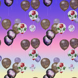 Seamless pattern with balloons on rainbow background Stock Photo