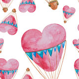 Seamless pattern of balloons in the shape of heart with baskets Royalty Free Stock Images