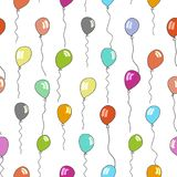 Seamless pattern of balloons in various colors. Vector seamless pattern of balloons in blue, red and green colors Stock Image