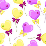 Seamless pattern with balloons-01. Seamless pattern with yellow and purple balloons and bows on a white background.Festive vector illustration. Print to print on Royalty Free Stock Photography