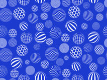 Seamless pattern with balls on blue backdrop Stock Images