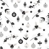 Seamless pattern with balls and branches. Seamless pattern with christmas balls and branches of Christmas tree in white and black colors. Vector illustration Stock Photos